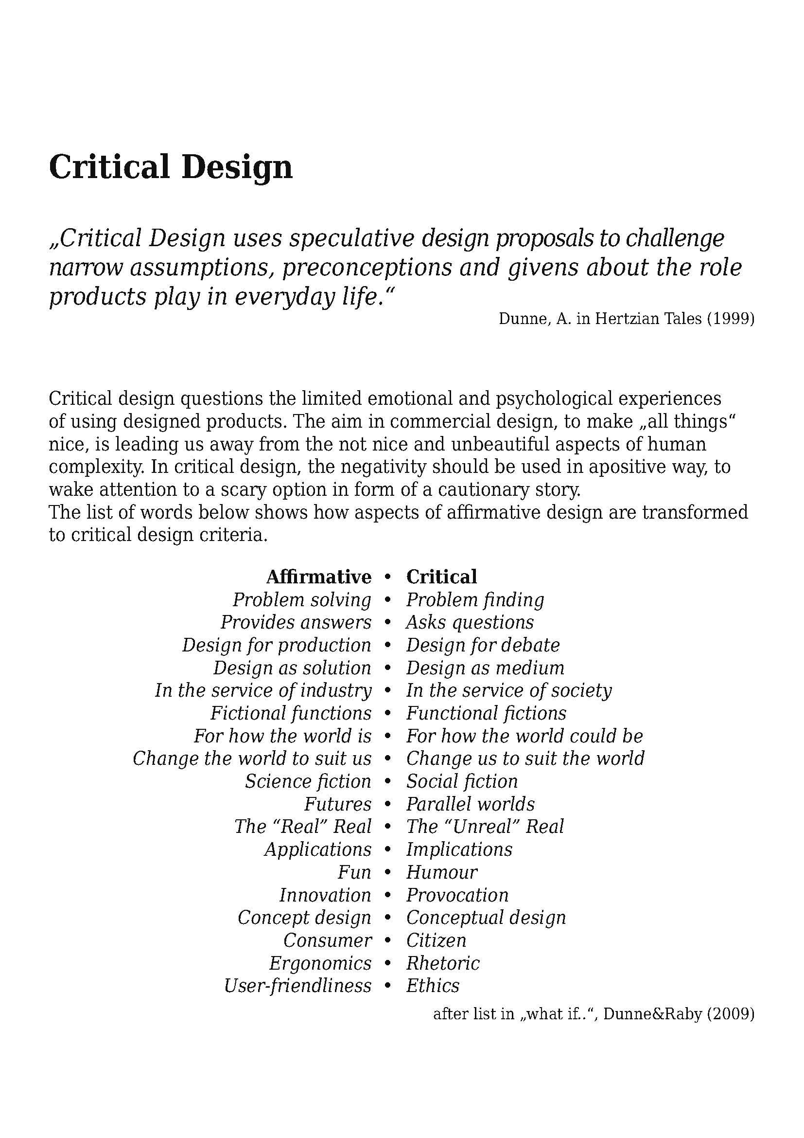 info text critical design
