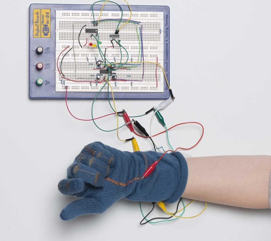 The piezo-electric glove with electronics