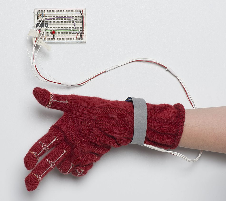 The piezo-resistive glove with electronics
