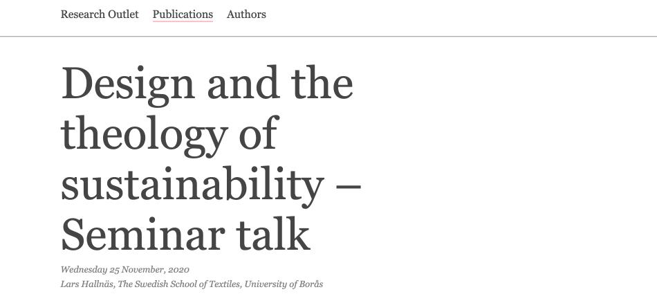 Designandthetheologyofsustainability – Seminartalk